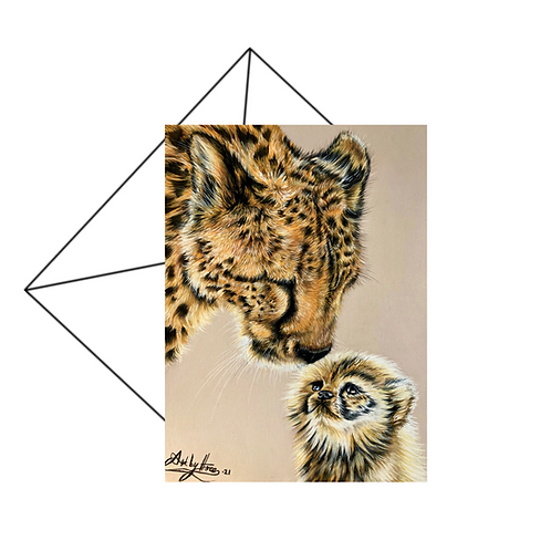 Cheetah Mum and Cub Greeting Card Blank