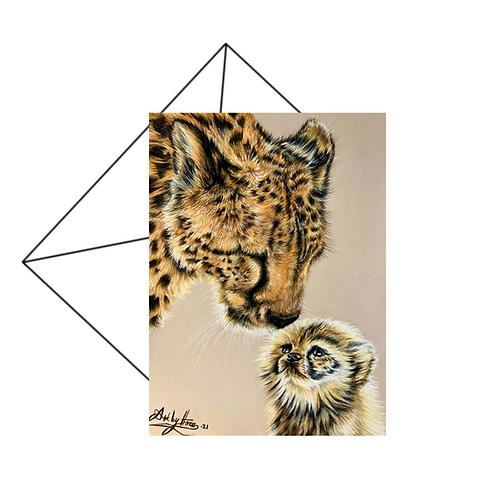Cheetah Mum and Cub Greeting Card Blank