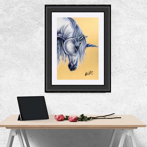 White Unicorn Drawing Fine Art Print