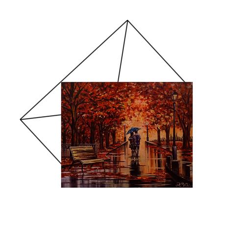 Romantic Autumn Scene Card, Anniversary Card, For Couples