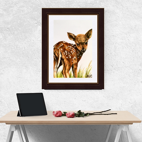 Cute Bambi Fawn Original Drawing
