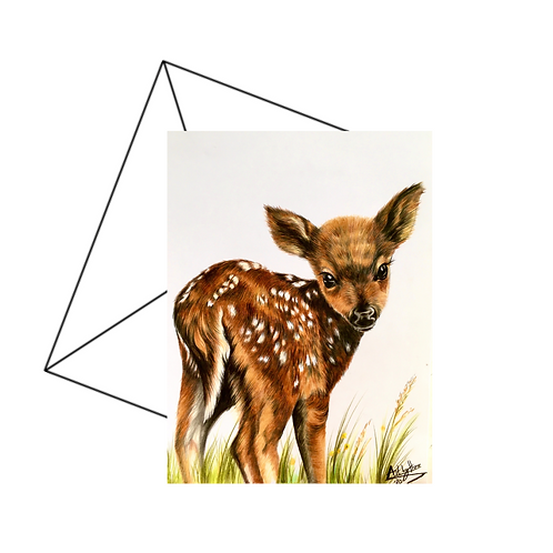Cute Bambi Fawn Fine Art Card Blank