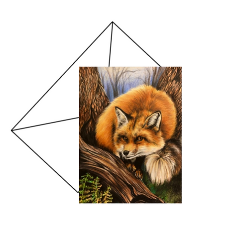 Red Fox Drawing Fine Art Card Blank