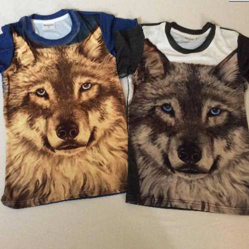 Ladies Grey Wolf Face T Shirt