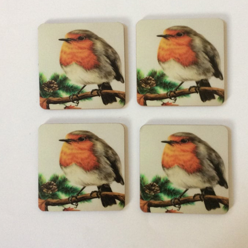Red Robin Coaster Set of Four