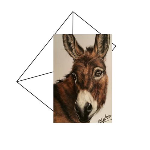 Donkey Drawing Fine Art Card Blank