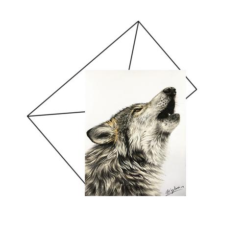 Howling Wolf Card Blank