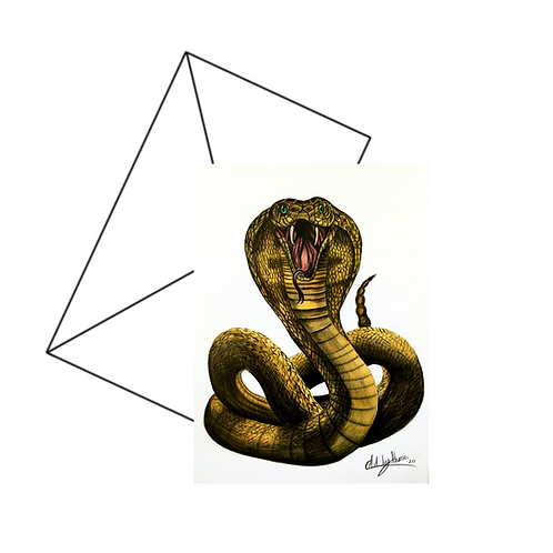 King Cobra Snake Art Card Blank