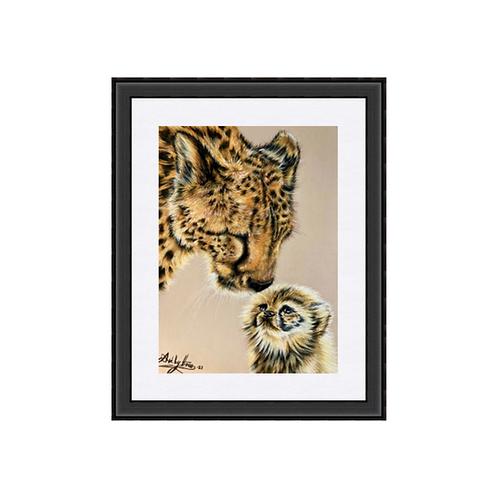 Cheetah And Cub Original Drawing