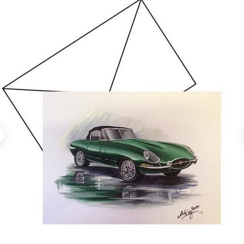 Vintage E Type Jaguar  Fine Art Card