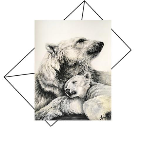 Polar Bear Mum And Cub Greeting Card Blank
