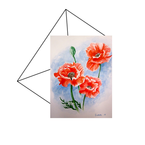 Red Poppies Watercolour Card Blank