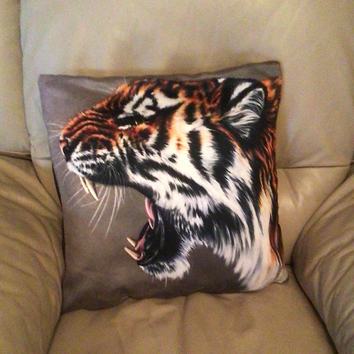 Roaring Tiger Illustrated Faux Suede Cushion