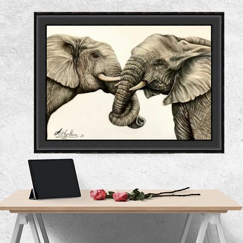 Two Elephants Drawing Fine Art Print