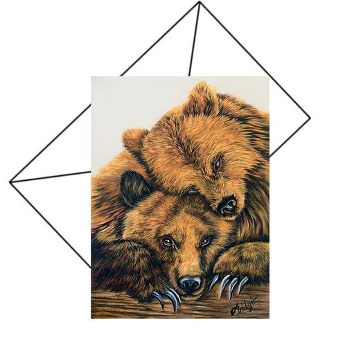 Bears Hugging Greeting Card Blank