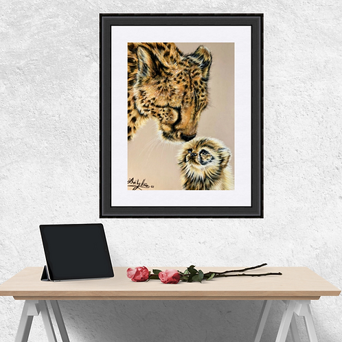 Cheetah And Cub Drawing Fine Art Print