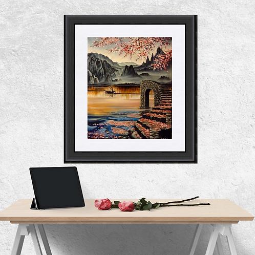 Lake of Tranquility Art Print, Japanese Landscape