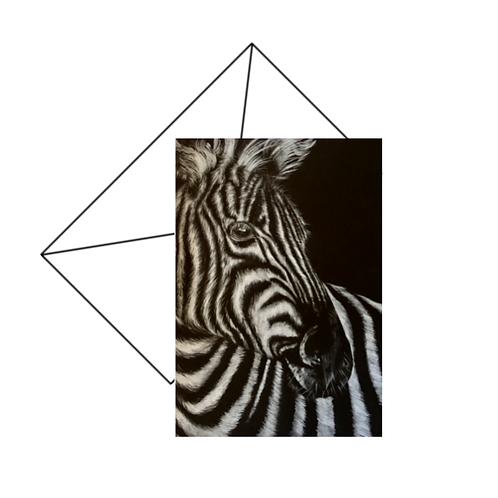 Zebra Portrait Monochrome Card Blank