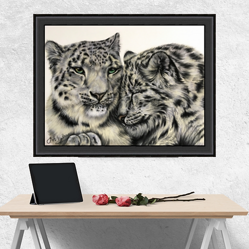 Two Snow Leopards Drawing Fine Art Print