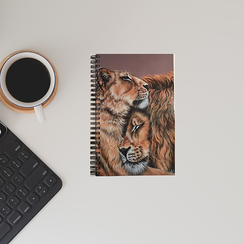 Two Lions Snuggling A5 Lined Notebook