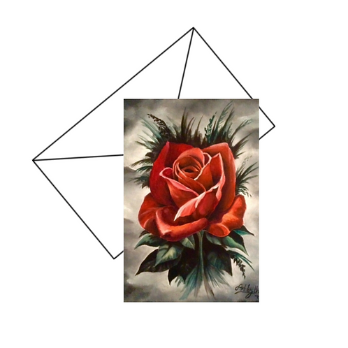 Gothic Red Rose Card