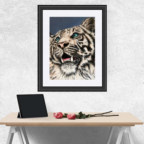 White Tiger Art Poster