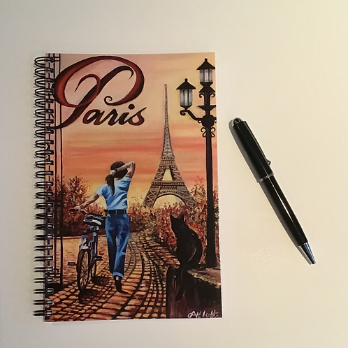 Parisian Scene Romantic A5 Lined Notebook