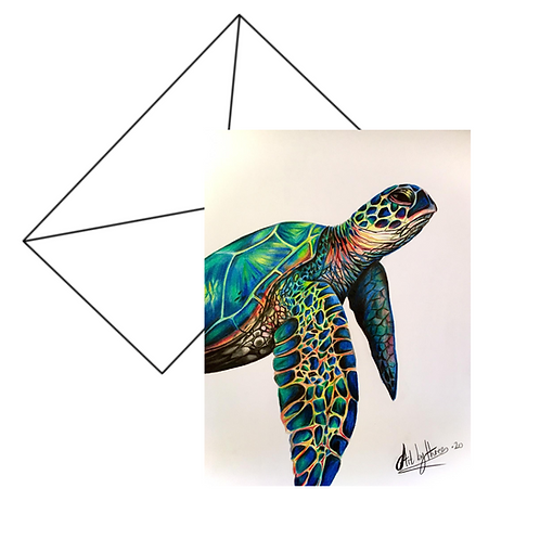 Sea Turtle Fine Art Card Blank