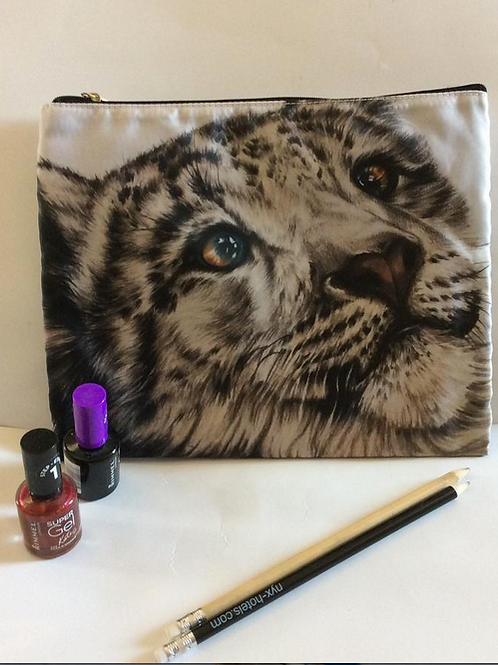 Snow Leopard Pencil Case/ Cosmetic Bag