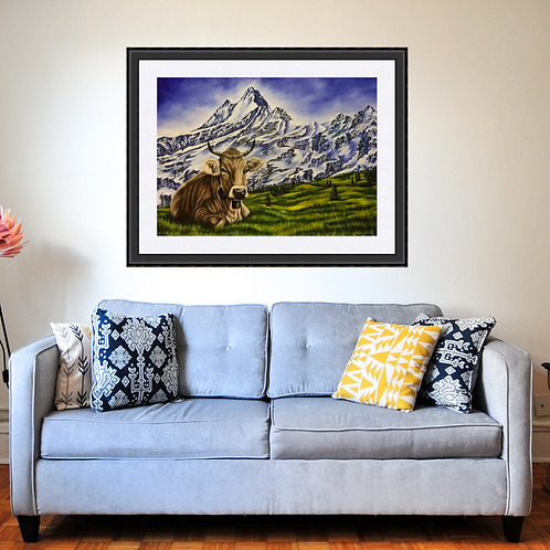 Swiss Cow in the Alps Fine Art Print