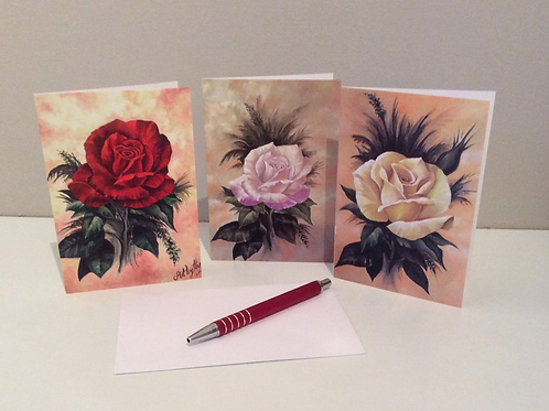 Rose Art Cards, Floral Cards For Her, Anniversary Card, Sympathy