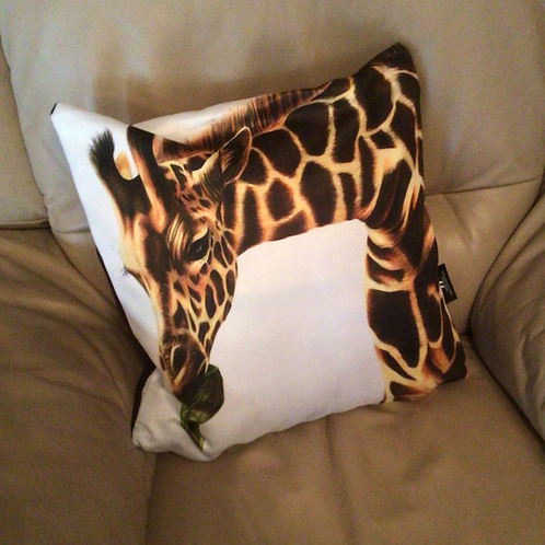 Giraffe Illustrated Faux Suede Cushion