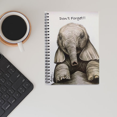 Cute Baby Elephant Don't Forget Lined Notebook