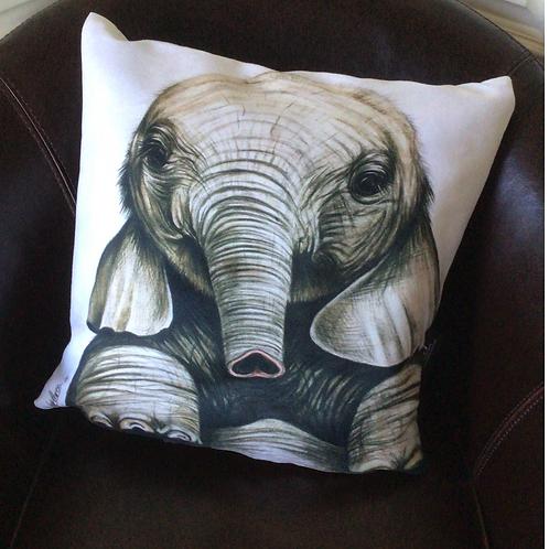 Cute Elephant Illustrated Faux Suede Cushion