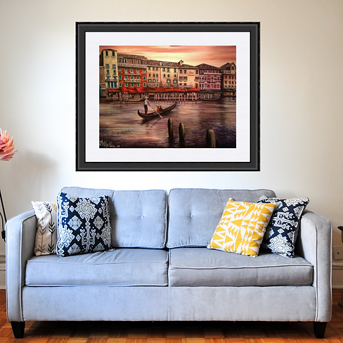 Venice at Sunset Romantic Art Print