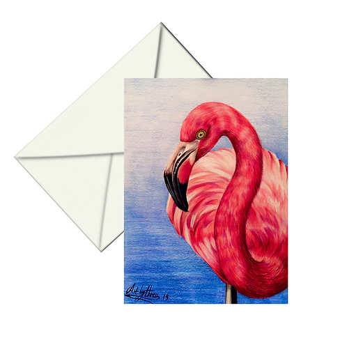 Pink Flamingo Drawing Fine Art Card Blank