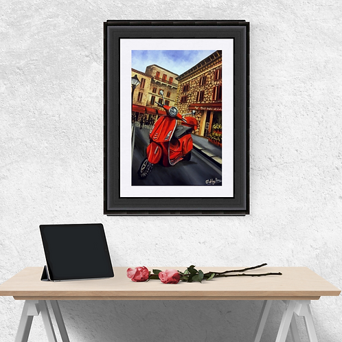 Red Vespa Print, Red Scooter Art