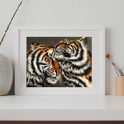 Two Tigers Original Drawing