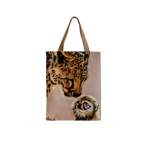 Cheetah Mother and Cub Tote Bag For Cat Lovers,