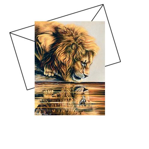 Lion Card, Wildlife Art Card