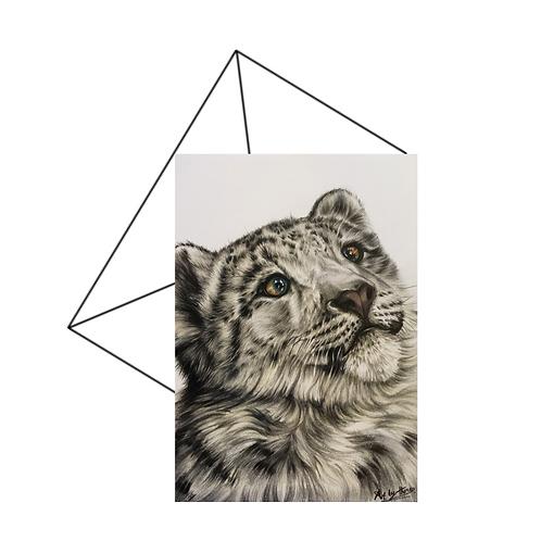 Snow Leopard Art Card, Wildlife Art Card