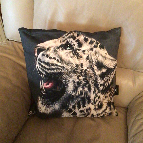 Snow Leopard Illustrated Faux Suede Cushion