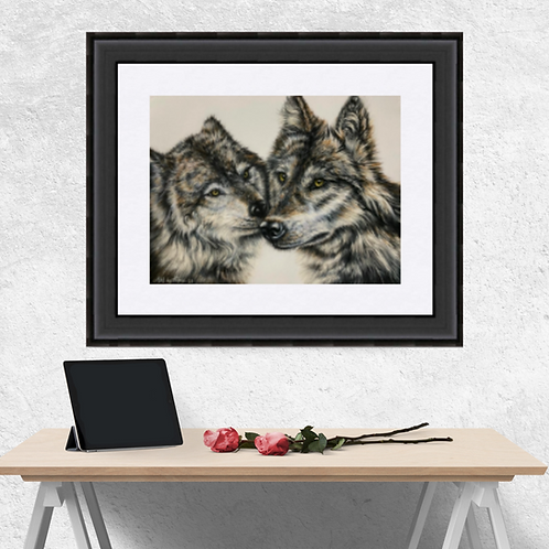 Two Wolves Kissing Drawing Fine Art Print