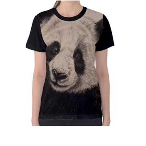 LADIES Giant Panda  Full Print T Shirt