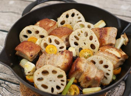 レンコンと豚バラ肉のオーブン焼き、Pancetta di maiale e radice di loto