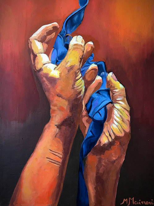 Manos pidiendo con nudos azules (Asking Hands with blue ribbons)