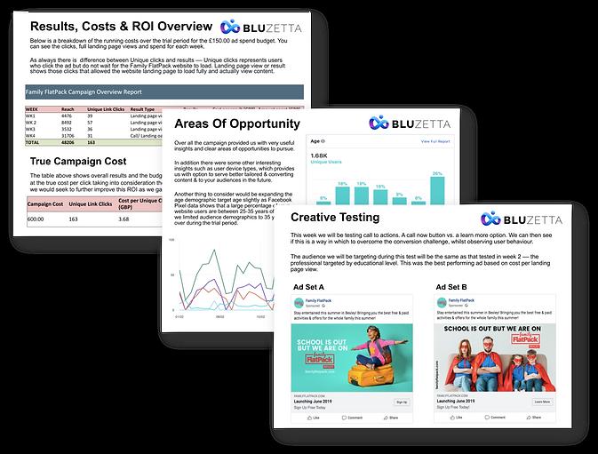 Blu Zetta Social Media Marketing Reports