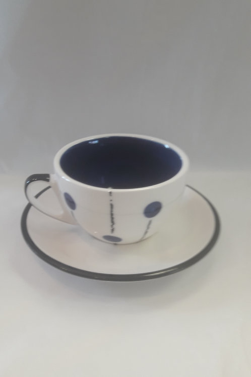Dark blue lollipop cup and saucer