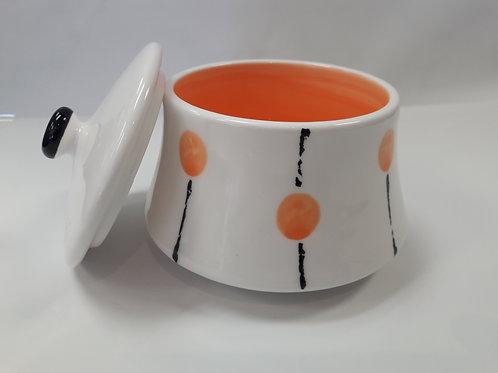 Orange sugar bowl