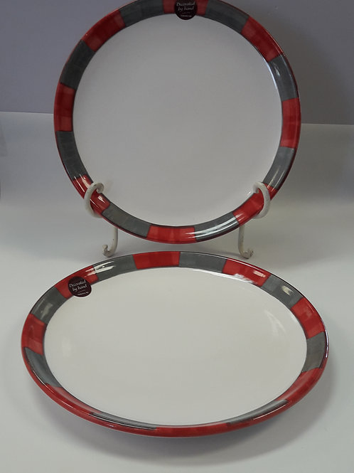 27 cm Dinner Plate Red & Grey